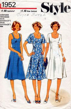 1970s Sweetheart Dress Pattern Style 1952 Vintage Sewing