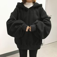 Hoodie Outfit - ulzzang Tracksuit Loose Hoodie Sweatshirt Kpop Streetwear Harajuku Hipster Brand Fashion Sweatshirt Women Plus Size Winter Mode Outfits, Winter Outfits Women, Korean Winter Outfits, Holiday Outfits, Winter Dresses, Oversized Hoodie Outfit, Black Hoodie Outfit, Oversized Clothing, Oversized Tee