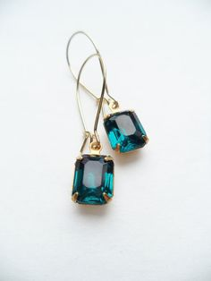 Vintage Earrings Glass Dangles Blue Teal by SPARKLESandSASS