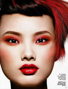 Magazine: Vogue China, October 2009  Title: Red Alert  Photographer:Eric Maillet  Featuring: Emily Zhang