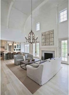 Hooked on Houses blog. Classic Brick & Shingle House in Greenwich. two-story family room