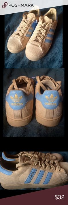 Tan Corduroy Adidas These amazing shoes are a size 7 1/2 and fit true to size. They have mint blue detailing and even include a tag. There is a few rubbing marks on the back of the shoe as shown in the forth photo. Adidas Shoes Sneakers