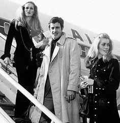 Ursula Andress, Jean-Paul Belmondo and Catherine Deneuve boarding Air France...