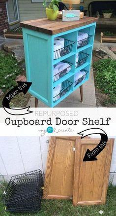 Repurposed Cupboard Door Shelf: Beautify your home with this DIY repurposed cupboard door shelf, easy to make your own one following the picture tutorial. #repurposedfurnituredresser