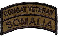 "2"" X 3 1/2"" OD Somalia Combat Veteran Tab - Wax Backing with Merrowed Edge - Battle of Mogadishu 1993 - Somalia - Black Hawk Down."