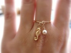 Charm ring Gold filled ring Seahorse ring Dainty ring by Lalinne, $20.00