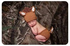 Newborn hunting camo deer photography