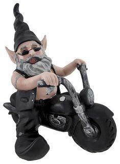 Biker Gnome On Black Bike   Click To Enlarge