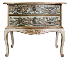 """Italian decoupage """"lacca povera"""" commode with two drawers. 19th century on later stand."""
