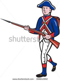 Illustration of an American revolutionary soldier minuteman serviceman military with rifle marching on isolated background done in cartoon style.  - stock vector #minuteman #cartoon #illustration