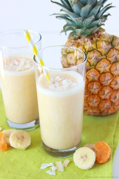 Pineapple Orange Banana Smoothie on www.cookingwithruthie.com is healthy and refreshing!