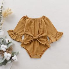 Baby Baby Girl Fashionable Solid Style Bowknot Decor Long-sleeve Romper at PatPat.com