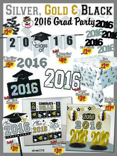 Black, Silver, and Gold 2016 Graduation Party inspiration   Wally's Party Factory #black #gold #silver #graduation