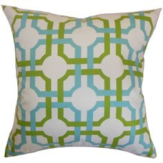 Infuse a modern and chic vibe to your living room or bedroom by decorating this geometric accent pillow. Bold shades of blue and green are set against a white background giving this throw pillow a unique detail.