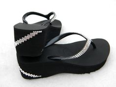 96a308e4d3d0 Black White Havaianas Wedge Flip Flops Custom Crystal w  Swarovski  Rhinestone Bling 2.4