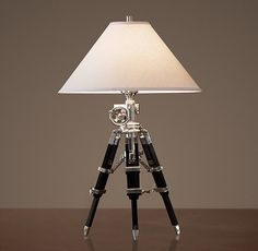 Royal marine tripod table lamp - polished aluminum  Restoration Hardware