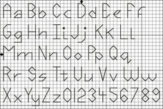 Use this free alphabet pattern with upper and lower case letters and numbers to personalize your cross stitch designs.  Stitch the back stitch letters with the floss colors of your choice.