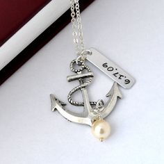 Personalized antique anchor necklace, keepsake necklace, special day necklace, anniversary, wedding date, engagement