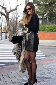 leather skirt and coat leather mini skirt looks - Lady Addict Skirt Outfits, Sexy Outfits, Fashion Outfits, Womens Fashion, Trendy Outfits, Black Leather Skirts, Black Tights, Sexy Women, Women Wear