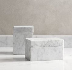 Marble storage boxes.
