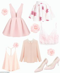gasaii:Color coordinated Valentine's day outfit ideaspink dress || rose skirt || lace bralette || collared blouse || sequin top || pink shoes
