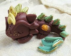 Brown Dragon (Green to Yellow Scales) // Tiny Dragon Sculpture //  Polymer Clay Cute Fantasy Figurine // Polymer Clay Dragon