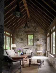 , I would live in this screened in porch. , I would live in this screened in porch Stone Cottages, Cabins And Cottages, Stone Houses, Interior Architecture, Interior Design, Cottage Homes, Design Case, Home Accents, Great Rooms