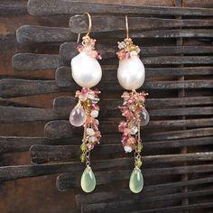Baroque Pearl Pink Tourmaline Rhodochrosite by JewelleryHaven