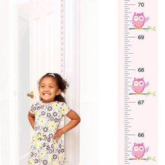 Patent Pending Mom Approved Pink Owl PeekaBoo Growth Charts Track & Measure your Kid's Height. Fits in Standard Door Jamb, Removable & Reusable, Self-Adhesive [72 x 1.25 Inches] available on Etsy, Amazon, Ebay and www.momapproved.net