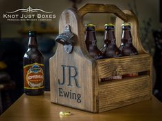 Personalised Wooden Beer Carrier / Bottle opener / Gifts for Him / Fathers Day / Best Man von KnotJustBoxes auf Etsy https://www.etsy.com/de/listing/201117870/personalised-wooden-beer-carrier-bottle