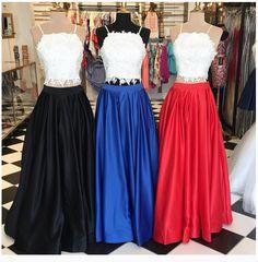 Elegant two pieces lace long prom dress for teens, unique lace evening dress
