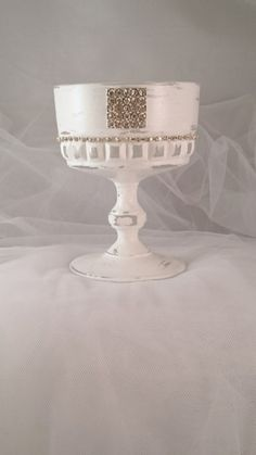 Candle Holder white Vintage Glass Desert Stemmed Sundae Dish Diamante Wedding Candle Gift Idea Garden Light Tealight Holder Table Decoration by LouLaBelleG on Etsy