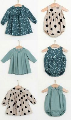 Classic baby clothing in teal and large black polka dots