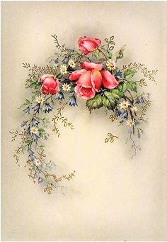Flower Crafts, Diy Flowers, Spring Flowers, Decoupage Vintage, Decoupage Paper, Victorian Flowers, Vintage Flowers, Vintage Flower Tattoo, Iris Folding Pattern