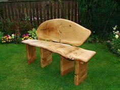 Hand Crafted Bespoke Wainy Edge Scottish Pippy Oak Garden Bench