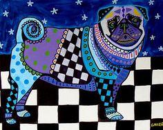 Pug Art Gift PRINT Dog Poster Pop Art Modern Abstract Folk Art GALLER 16x20