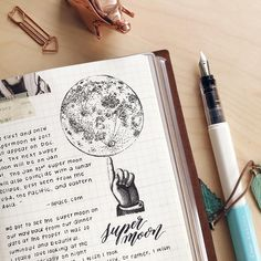 """2 Likes, 2 Comments - sarica feng (@saricastudio) on Instagram: """"Closeup of the moon drawing in last week's spread. There is also a process video for this journal…"""""""