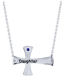 Daughter Cross Pendant with Personalized Birthstone in Stainless Steel via Etsy