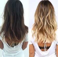 hair color inspiration, brunette to blonde. Blonde Wavy Hair, Icy Blonde, Bright Blonde, Going Blonde From Brunette, Brunette With Blonde Balayage, Blonde For Brunettes, Carmel Blonde Hair, Blonde Foils, Blonde Layers