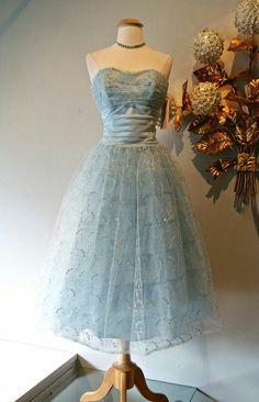 Vintage 50s blue dress