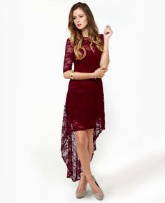 The IT color for fall - Wish You Were Sheer Burgundy High-Low Lace Dress. ugh all my favs in one dress...so hard to resist!