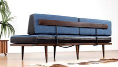 Restored Blue and Black Mid Century Daybed by FurnishMeVintage