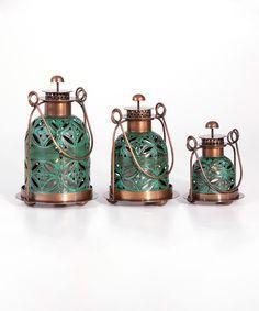 Look at this #zulilyfind! Teal Copper Lantern Set by #zulilyfinds
