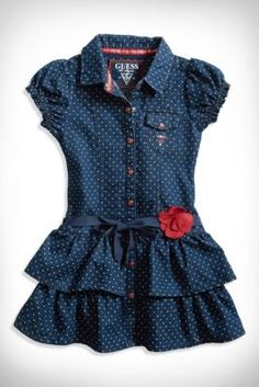 Girl's Clothing for sizes 2-6x: Shop tanks, tops, vests, denim, pants, shorts, skirts, dresses, sweaters, sweatshirts, jackets, outerwear, outfits, swimwear and more | guess kidsLittle Girl Polka Dot Denim Dress