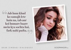 8 Heartwarming Lines From 'Dear Zindagi' To Help You Love Yourself & Your Zindagi Shyari Quotes, Song Lyric Quotes, Music Quotes, True Quotes, Hindi Quotes, Qoute, People Quotes, Girl Quotes, Wisdom Quotes