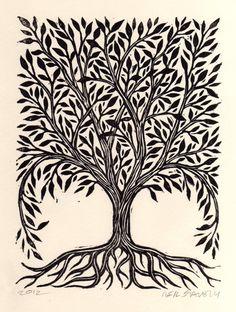 Tree Linocut Art Print