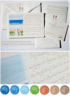 Luxe letterpress beach boardwalk watercolor wedding invitations. \ MospensStudio.com