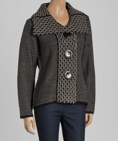 Look what I found on #zulily! Willow Black Wool-Blend Button-Up Cardigan by Willow #zulilyfinds