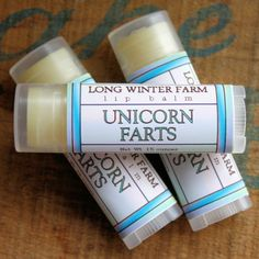 Unicorn Farts Lip Balm - Smells just exactly like real imaginary unicorn farts! Which smell like spearmint and pink cotton candy, everybody knows that.