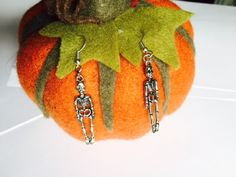 Halloween - Hanging Skeleton Earrings - Fancy Dress - Sterling Silver or Silver Plated by Makewithlovecrafts on Etsy Halloween Skeletons, Fancy Dress, Silver Plate, Crochet Earrings, Sterling Silver, Christmas Ornaments, Holiday Decor, Creative, Handmade